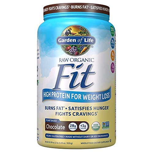 Garden of Life Raw Organic Fit Powder Chocolate  High Protein for Weight Loss 28g Plus Fiber Probiotics amp Svetol Organic amp NonGMO Vegan Nutritional Shake 20 Servings