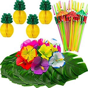 WILLBOND 102 Pieces Hawaiian Tropical Jungle Party Decoration Set Including 24 Tropical Palm Simulation Leaves, 24 Silk Hibiscus Flowers, 4 Tissue Paper Pineapples, 50 Colorful Umbrella Straws