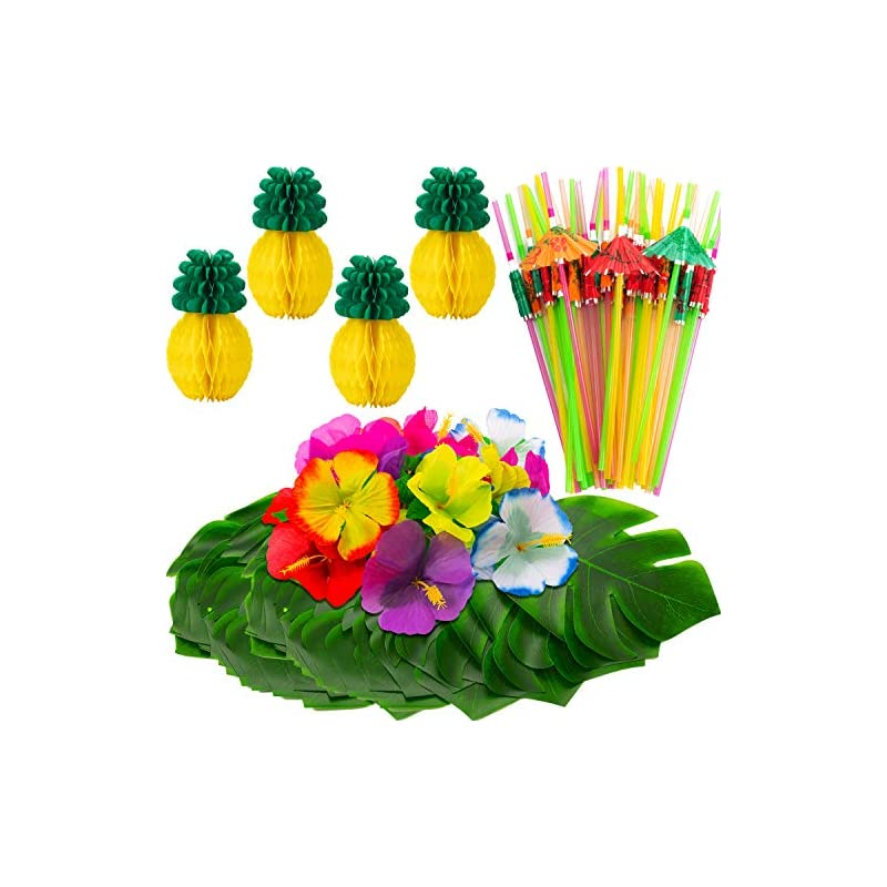 silk flower arrangements willbond 102 pieces hawaiian tropical jungle party decoration set including 24 tropical palm simulation leaves, 24 silk hibiscus flowers, 4 tissue paper pineapples, 50 colorful umbrella straws