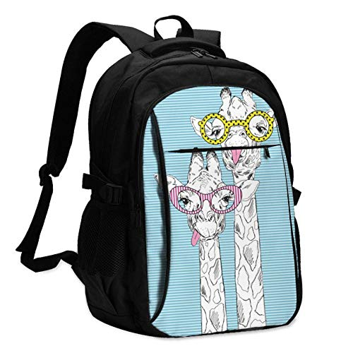 XCNGG Giraffe in Trendy Glasses Travel Laptop Backpack with USB Charging Port Multifunction Work School Bag