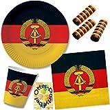 HHO Nostalgie Ostalgie DDR Party-Set 63tlg. für 20 Gäste : Becher Teller Servietten Luftschlangen
