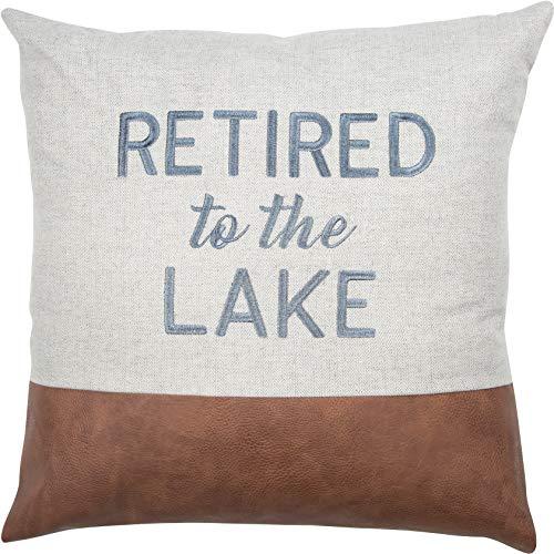 Pavilion Gift Company Lake Blue - Cojín Bordado de 45,7 cm con Texto en inglés, Color Gris