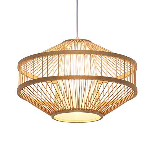 KESAI HomeDeco Moderne Pendelleuchten Pendellampe, Bambus Holz Hängelampe Hängeleuchte für Esstisch, E27 Lampenfassung, Kreativ Holz Hängeleuchten Kronleuchter für Esszimmer und Wohnzimmer,B