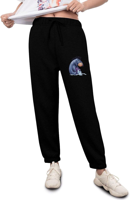 VEIWO Eeyore A surprise price Super beauty product restock quality top! is realized Women Pants Cute Sweatpants Soft Basic Active Black