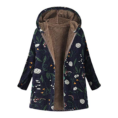 Winter Warm Outwear for Womens Floral Print Hooded Vintage Oversize Coats Pockets
