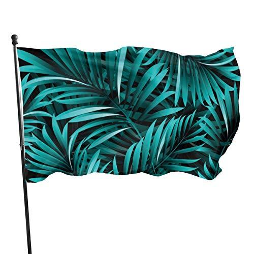 Bandera de jardín, hojas de palma, plantas tropicales, color vivo y resistente a los rayos UV, doble costura para patio, bandera de temporada, banderas de pared de 3 x 5 pies