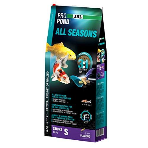 JBL Nourriture standard pour Koïs, Bâtonnets Alimentaires Flottants, Nourriture de saison, ProPond All Seasons, Taille: S, 5,8 kg