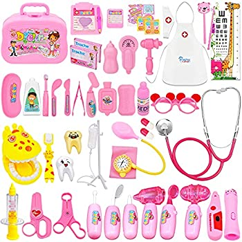 Kuthgide Doctor Kit for Kids 46 Pieces Toy Doctor Kit Pretend Dentist Medical Toy Kids Doctor Kit with Electronic Stethoscope for Girls School Classroom and Doctor Roleplay Dress-Up