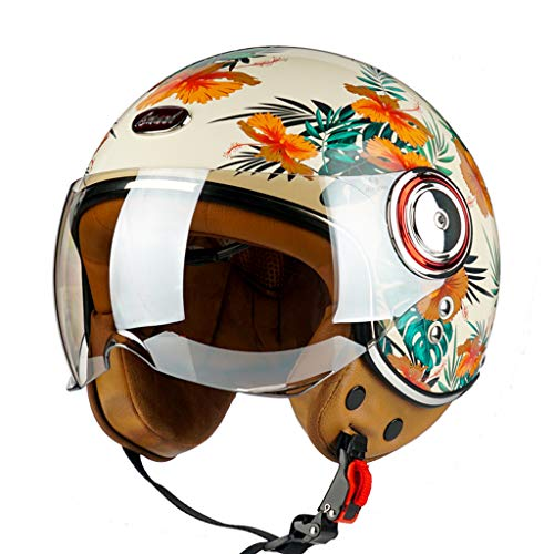 Electric Motorcycle Half Helmet Vintage Scooter Helmet Women's Men's Retro Open Face Motorcycle Helmets DOT/ECE Certified, Light Breathable Street Sunscreen Moped Helmet, M-XL