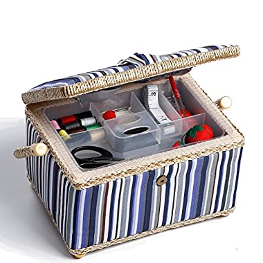 bbloop Medium Vintage Sewing Basket with Notions Package - Blue and Grey Stripe Style