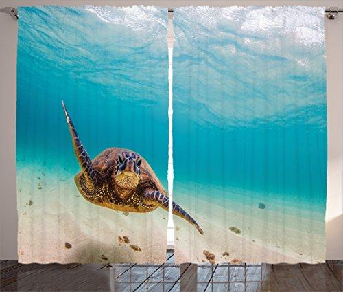 Ambesonne Hawaiian Curtains, Underwater Scuba Diving Sea Turtle Nature Animal Swimming Wildlife Theme, Living Room Bedroom Window Drapes 2 Panel Set, 108' X 84', Beige Brown