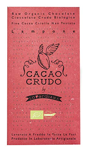 CiboCrudo Tavoletta di Cioccolato Crudo e Lampone, Bio, Cacao Puro 63%, Gustoso Snack Quadrato, Lamponi Essiccati a Freddo dal Gusto Deciso, Marchio Cacao Crudo – 50 gr