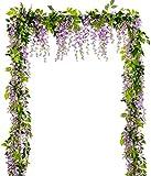 YQing 4 Unids Flores Artificiales Seda Glicina Guirnalda Artificial Wisteria Vid Ratán Seda Flor Colgante para el Jardín del Hogar Boda Arco Decoración Floral