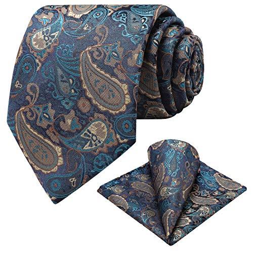 Ohlimuc Corbatas de Hombre (8.5cm), Corbata y Pañuelo Conjunto Paisley (Caja de Regalo), Corbata de Boda Clásico para Ropa Formal, Paseo, Celebración, Fiestas