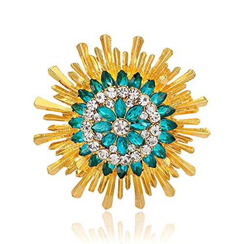 ZPEE Broche de Mujer Rhinestone Sunflower Broches de la aleación de Zinc Flor Pin de la Boda Broche de Novia de la Boda Accesorios de Disfraces Broche de Tela para Mujer de Ropa