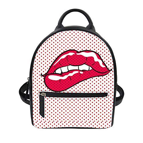fhdc Rucksäcke Mode Frauen Pu Leder Rucksack Sexy Roten Lippen Casual Travel Mini Bagpack Für Teenager Mädchen Täglichen EinkaufstaschenCc2383Z4