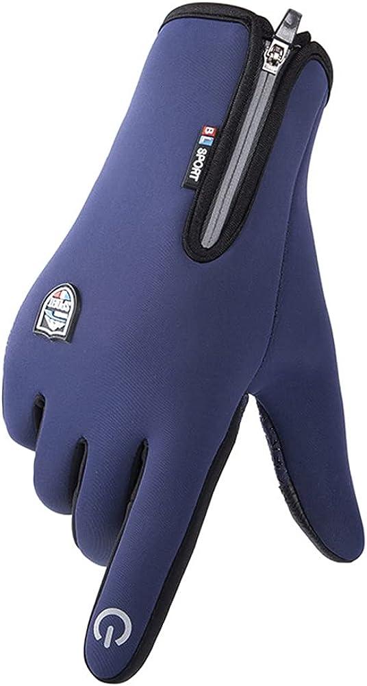 Avilego Men's Winter Warm Touch Screen Gloves Riding Waterproof Fleece Gloves Outdoor Riding Non-slip Gloves