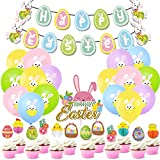 Pascua Set de Decoración -YUESEN 32 Piezas Pascua de Decoración, Fiesta de Pascua de Conejo Banner de Pascua Colgante Decoraciones de Fiesta de Látex Globos de Fiesta de Regalos Suministros