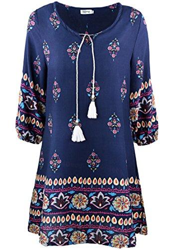 Kormei, vestito da donna con scollo rotondo, manica a 3/4, vestito da spiaggia, mini abito, vestito da bohémienne Blau M