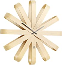 """Umbra Ribbonwood Large Modern Wall Clock, Battery Operated, Silent, Non ticking, Unique, 20"""" Diameter x 4"""" Width x 20"""" Hei..."""