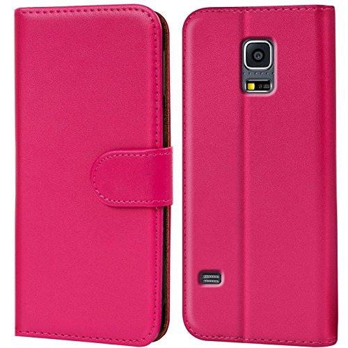 Verco Galaxy S5 Mini Hülle, Handyhülle für Samsung Galaxy S5 Mini Tasche PU Leder Flip Hülle Brieftasche - Pink