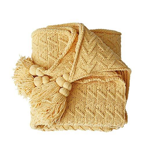 SYLTL Manta Tejida 100% algodón, Simplicidad Moderna Espina de Pescado Tejido Manta de Punto Puro algodón(130 * 160CM),Amarillo