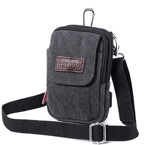Bolso bandolera de piel para hombre, tamaño pequeño, vertical para teléfono móvil, bolso de cintura con mosquetón y trabilla para cinturón