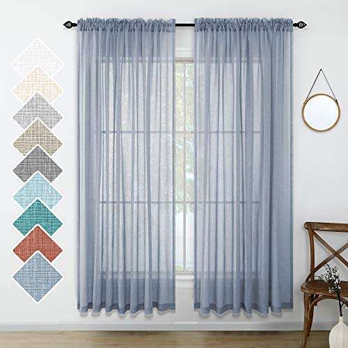 尘土飞扬的蓝色半透明窗帘84英寸的客厅长度套装2面板杆袋窗帘覆盖风格亚麻窗帘卧室卧室装饰52x84长灰灰蓝色