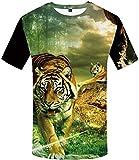 ZJZK T-Shirt 3D pour Hommes à Manches Courtes col Rond Lin Zhonghu T-Shirt T-Shirt pour Hommes 3DT à Manches Courtes col Rond Impression numérique Casual Manches Courtes-Color_4XL