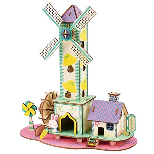 SJYDQ MKJHEDLSC Handmade puzzle,Handmade Puzzle, 3D Wooden Puzzle House Model Brain Teaser DIY Construction Craft Toy Game