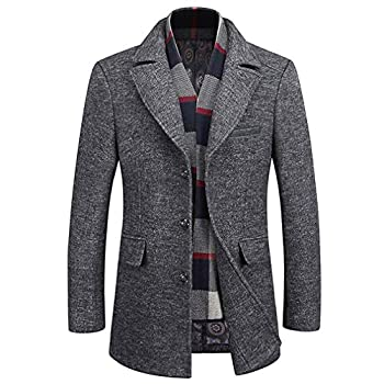 WULFUL Men s Wool Trench Coat Winter Slim Fit Pea Coat with Free Removable Plaid Scarf