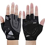 WONNY Cycling Gloves, Professional Mountain Bike Gloves for Men Women, Gel Padded Shock-Absorbing Anti-Slip Bicycle Gloves, Half Finger Breathable Sports Fitness Gloves (Black, L 7.48-8.27inch)