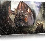 Pixxprint Drachen Schlangen als Leinwandbild | Größe: 80x60 cm | Wandbild | Kunstdruck | fertig bespannt