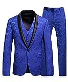 MOGU Mens Slim Fit 3 Piece Suit Royal Blue Floral Jacquard Tuxedo US Size 32 (Asian M/48)