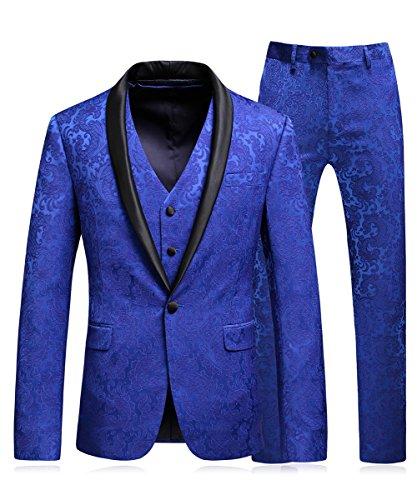 MOGU Mens Slim Fit 3 Piece Suit Royal Blue Floral Jacquard Tuxedo US Size 42 (Asian 4XL/58)