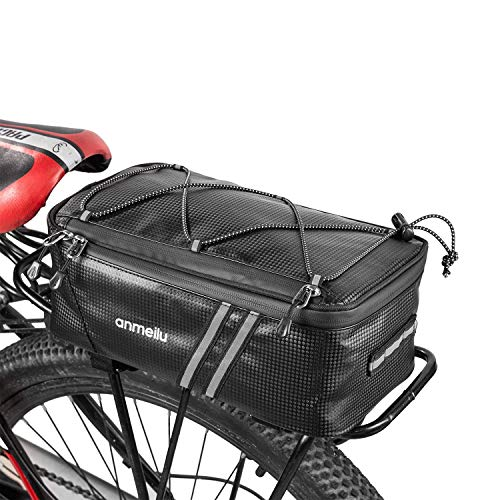 ERRLANER 7L Bicycle Rack Rear Bag Leather Full Waterproof with Rain Cover,Outdoor Cycling Bike Storage Luggage Pannier Commuter Bag