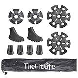 TheFitLife Protector de punta de goma y cestas de nieve y barro para bastones de trekking, accesorios y reemplazos de goma durables, juego completo de consejos