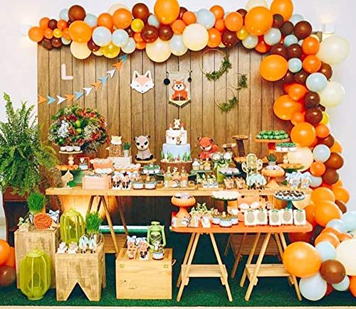 Woodland Creatures Party Balloon Garland & Arch Kit-100pcs Orange Brown Green Yellow Color Latex Balloons, 16 Feets Arch Balloon Strip for Autumn Party Fall Baby Shower Birthday Thanksgiving