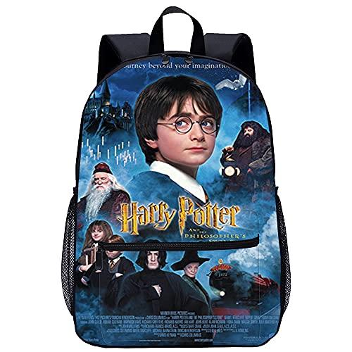 Mochila Infantil 3D Viaje Mochila Harry Potter y la Piedra Filosofal Adecuado para: estudiantes de primaria y secundaria, la mejor opción para viajes al aire libre Tamaño: 45x30x15 cm / 17 pulgadas