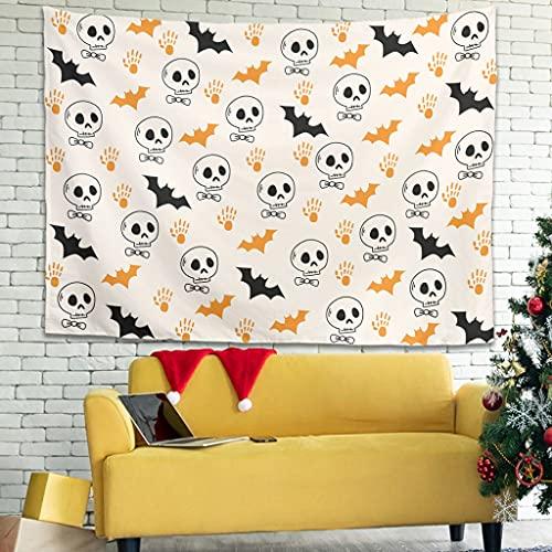 Tapiz de terror, murciélago de dibujos animados de Halloween personalizado para colgar en la pared manteles Tapiz de pared blanco 40 x 59 pulgadas