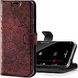 SURAZO Handyhülle für iPhone 11 Pro – Premium Echtleder Hülle Schutzhülle mit [Standfunktion, Kartenfach, RFID Schutz, Blumenmuster] Klapphülle Wallet case Handmade für Apple iPhone 11 Pro (Burgund)