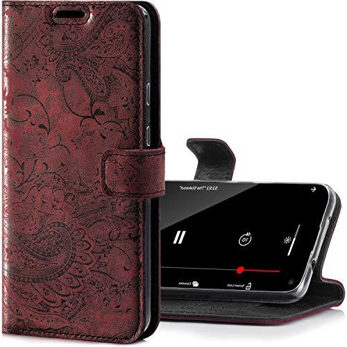 SURAZO Handyhülle für Samsung Galaxy A52 / A52s 5G – Premium Echtleder Hülle Schutzhülle mit [Standfunktion, Kartenfach, RFID Schutz, Blumenmuster] Klapphülle Wallet case Handmade in Europe (Burg&)