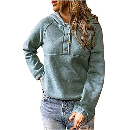 Women's Fall Solid Color Hoodies Casual Long Sleeve Button Hooded Sweatshirt Lightweight Comfy Pullover Workout Shirt