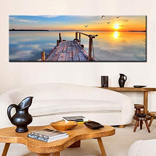 wZUN Natürliche Holzbrücke Sonnenuntergang Landschaft Leinwand Malerei Plakate und Drucke skandinavischen Wohnzimmer...