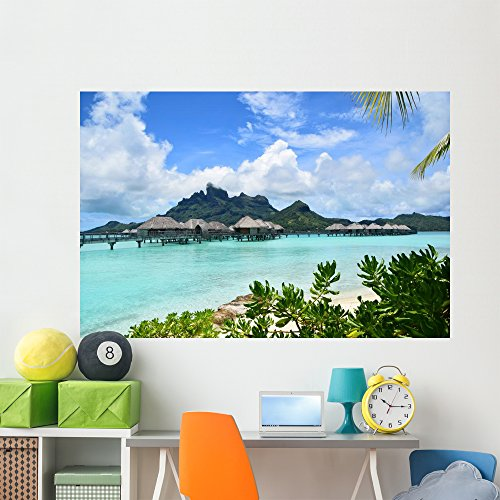 Wallmonkeys WM265714 Overwater Bungalow Bora Peel and Stick Wall Decals (72 in W x 48 in H), Colossal