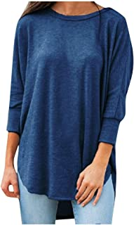 Plus Size Blouse Women's High Low Hem Long Sleeve Pullover Tunic Shirt Casual Solid Loose Tees