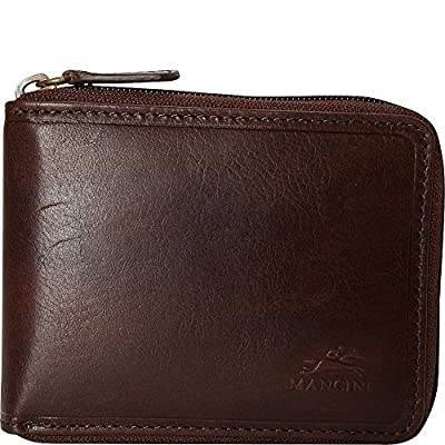 Mancini Leather Goods Men's RFID Secure Zippered Wallet with Removable Passcase