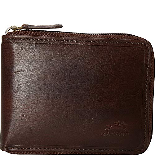 Mancini Men's RFID Secure Zippered Wallet with Removable Passcase - Brown