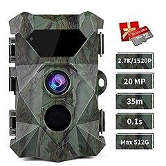 COOLIFE WildKamera 2.7K 20MP Distance de retrait Jusqu'à 35m Caméra sauvage avec détecteur de mouvement Vision nocturne 0,1s Déclencheur rapide Vitesse 46 pcs IR LEDs Caméra de chasse avec carte mémoire 32G