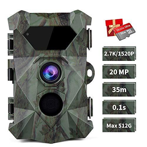 COOLIFE Wildkamera 2.7K 20MP Abzugsentfernung Bis 35m Wildkamera mit Bewegungsmelder Nachtsicht 0,1s Schnelle Trigger Geschwindigkeit 46 pcs IR LEDs Jagdkamera mit 32G Speicherkarte